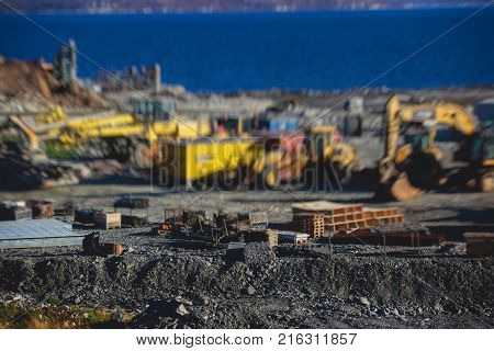 Construction Site, Process Of New Road Construction With Heavy Vehicle At Building Work, Heavy Excav