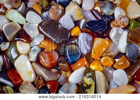 natural background - pile of semi precious jewelery stones closeup. best for craftsmanship, interior design, gift