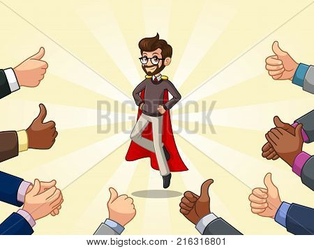 Hipster superhero businessman cartoon character design with many thumbs up and clapping hands around him, against cream background.