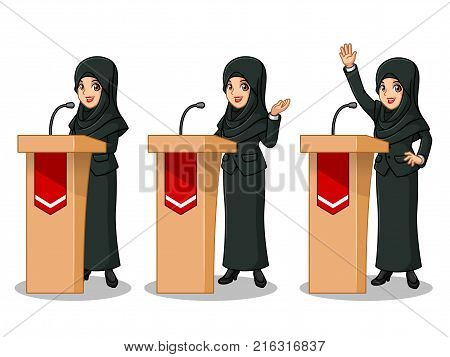 Set of businesswoman in black suit with veil cartoon character design politician orator public speaker giving a talk speech presentation standing behind rostrum podium, isolated against white background.