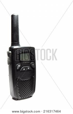 The handheld transceiver. Walkie-talkie on a white background.