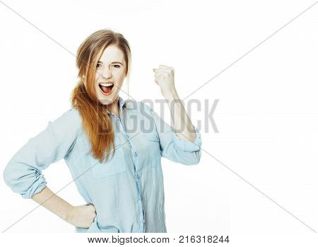 cute young woman making cheerful faces on white background, messed hair isolated