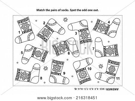 IQ training visual logic puzzle and coloring page with Santa's (or somebody's else) knitted socks. Match the pairs. Spot the odd one out. Answer included.
