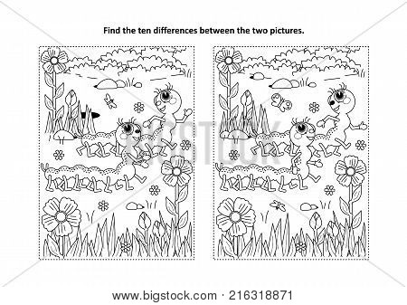 Spring or summer themed find the ten differences picture puzzle and coloring page with two cute caterpillars walking in the garden