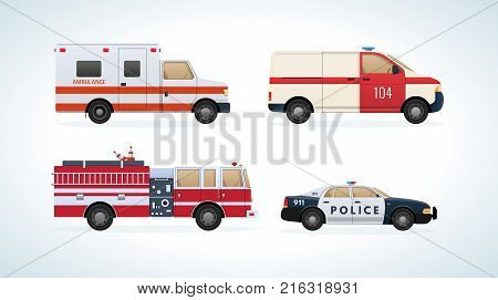 Set of urban transport. City cars, vehicles transport: fire service, ambulance machine, rescue service, police. Side view. City car rescue service. Vector illustration isolated.