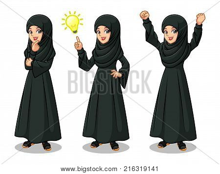 Set of Arab businesswoman in black dress get great idea inspiration light bulb, thinking thoughtful gesture, and celebrating victory winner successful success with raised up arms.