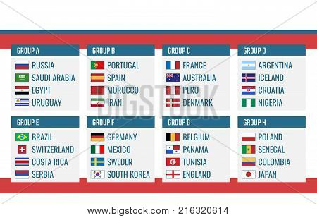 Football Cup in Russia group stage, world tournament table with all countries after the draw