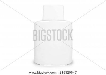 Template of a bottle for aftershave lotion for men isolated on white background. Healthcare concept.