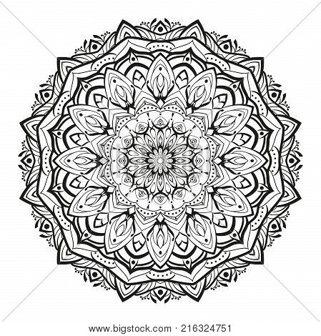 Monochrome geometrical vector mandala is isolated on a white background. Decorative element with east motives for design. Version of the page for colouring