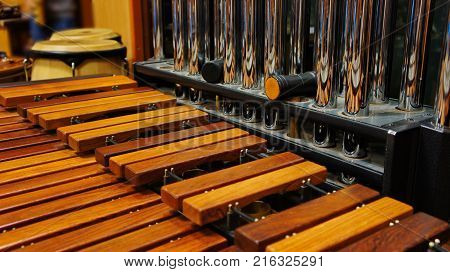 Close-up of The xylophone and tubular bells