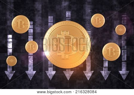 Bit coin on abstract background with downward arrows. Cryptocurrnecy and failure concept. 3D Rendering