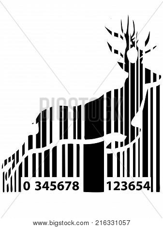 isolated black barcode deer for Christmas holiday on white background