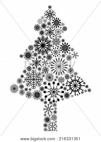 isolated black snowflake Christmas tree from white background
