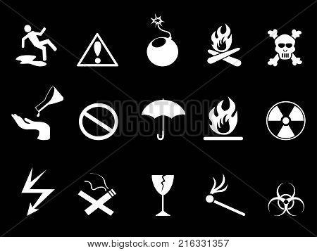 isolated white Symbols - Hazard warning icons set on black background