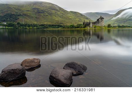 The ruins of historic Kilchurn Castle and view on Loch Awe