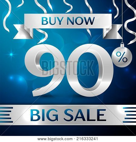 Realistic banner Merry Christmas with text Gold Big Sale buy now ninety percent for discount on blue background. Confetti, christmas ball and gold ribbon. Vector Illustration