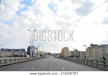 Omsk Russia - August 5 2017: Day of the city of Omsk blocked traffic on the streets of the city for the Siberian International Marathon.