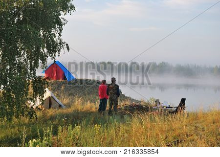 Morningg on the river Irtysh Omsk region Siberia Russia