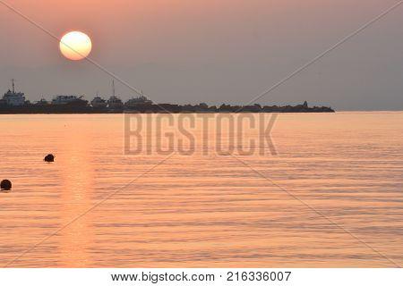 Sunrise over the coast of Yalta Crimea