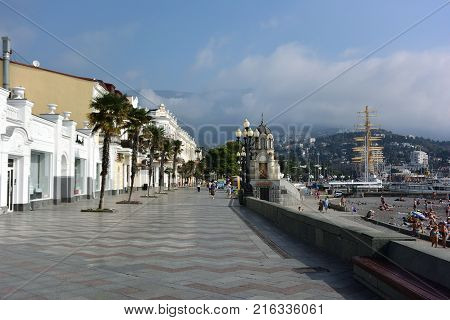 YALTA CRIMEA SEPTEMBER 19 2017: View of the embankment of the city of Yalta
