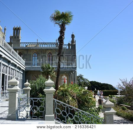YALTA CRIMEA - SEPTEMBER 14 2017: Beautiful places in the park Vorontsov Palace in the vicinity of Yalta Crimea