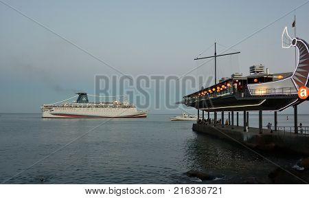 YALTA CRIMEA SEPTEMBER 13 2017: Cruise ship leaving the port of Yalta