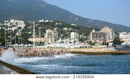 YALTA CRIMEA - SEPTEMBER 12 2017: View of the embankment of the city of Yalta