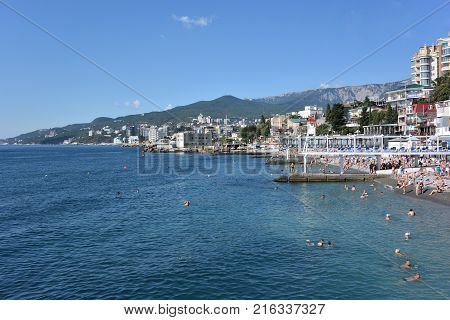 YALTA CRIMEA SEPTEMBER 6 2017: Massandra beach of Yalta