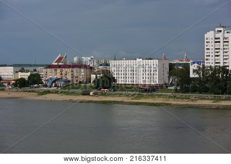 Omsk Russia - Jule 30: View of Irtysh River divides the city into two parts Omsk Russia