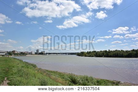 View of Irtysh River divides the city into two parts Omsk Russia