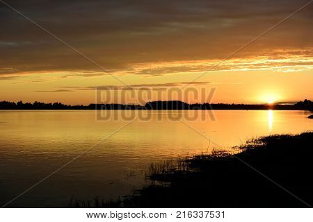 Evening on the Irtysh River Omsk region Siberia Russia
