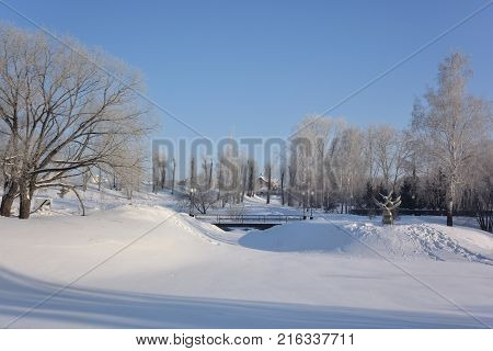 OMSK RUSSIA - JANUARY 31 2017: Sculpture Swans in an old country grove