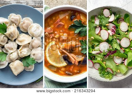 Collage of traditional slavic food  meat soup, dumplings and fresh radish salad. Top view.