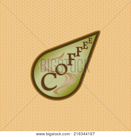 Coffee label is green and brown in teardrop shape