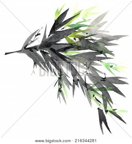 Watercolor and ink illustration of tree foliage in style sumi-e u-sin. Oriental traditional painting.