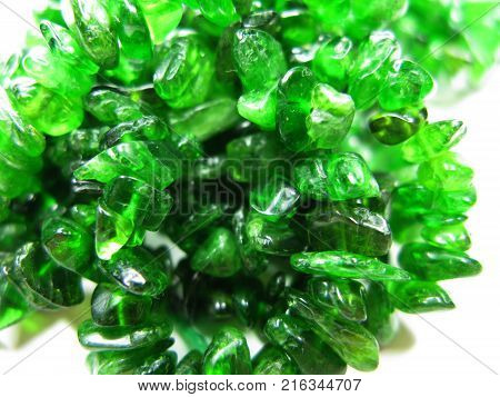 chrome-diopside semigem geode crystals geological mineral isolated