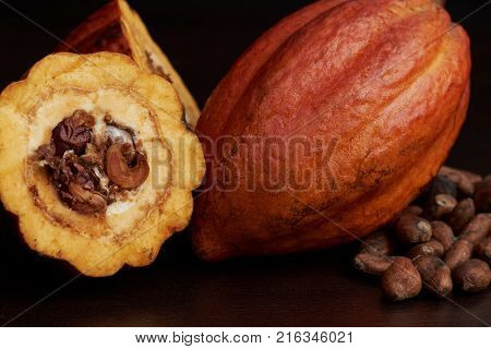 Open cocoa pod fruit on brown wooden surface