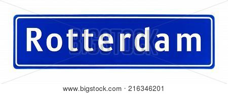 City limit sign of Rotterdam, The Netherlands isolated on a white background