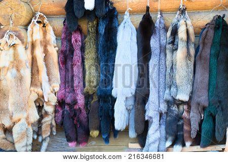 Fur. Russian fur. Natural fur from animals. Fox fox.Sale of fur