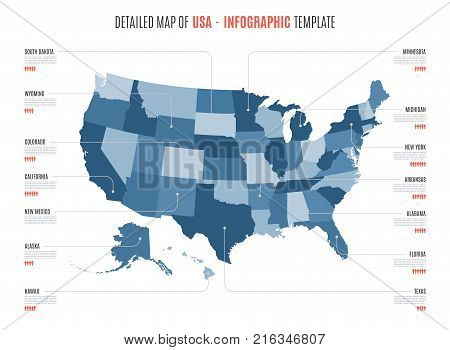 Detailed map of United States of America. Vector template for infographics. Editable stroke.