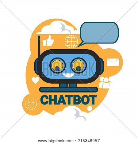 Chatbot Icon Concept Support Robot Technology Digital Chat Bot Application Vector Illustration