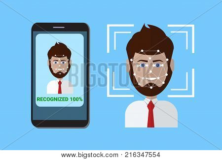 Biometric Scanning System Of Control Protection Smart Phone Scan User Face, Facial Recognition Technology Concept Vector Illustration
