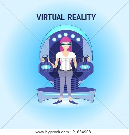 Woman In Virtual Reality Sitting In Vr Simulator Wearing 3d Goggles Simulation Technology Concept Vector Illustration
