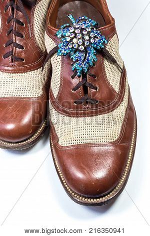 Men's Vintage Leather Shoes With Woman's Vintage Rhinestone Brooch, Gender Stereotypes, Transgender,