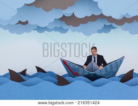 Businessman surrounded by sharks in stormy sea. Competitive business concept. Paper waves clouds boat and sharks.