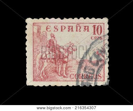 SPAIN - CIRCA 1939 : Cancelled postage stamp printed by Spain, that shows El Cid.