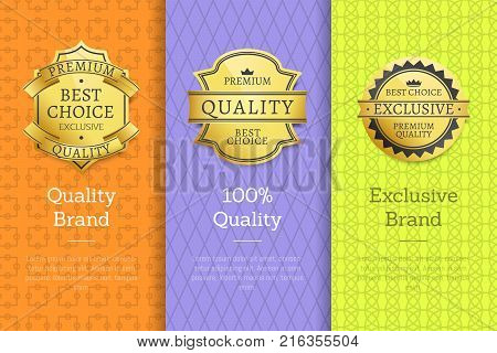 Quality brand 100 exclusive best premium choice golden labels set of logos design on colorful posters with text vector illustrations collection