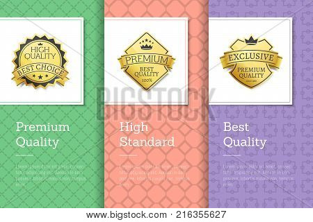 Premium quality best high standards golden labels set with excellent awards on green pink purple posters vector illustration banners collection with text