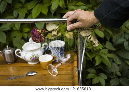 Male hand with withered rose pushing a trolley with sugar bowl and tea cups green leaves in the background poster