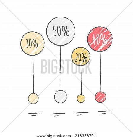 Percentage visualization icon with colorful different sized spheres that represent ratio. Vector illustration with diagram isolated on white background